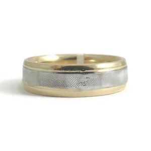 Men's Two-Tone Wedding Band Ring 14K Yellow White Gold Size 8, 5.9 mm, 7.6 Grams