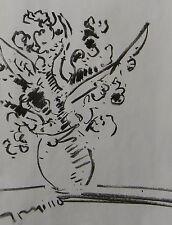 JOSE TRUJILLO IMPRESSIONISM ORIGINAL CHARCOAL DRAWING FLOWERS VASE STUDY SKETCH