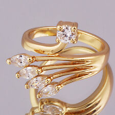 Fashion Ring Gold Filled Crystal Cocktail Rings For Women Girl Wedding Size 5.5