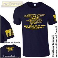 Maglia T-SHIRT GILDAN Navy Seals USA Marines Maglietta Uomo STAMPA SERIGRAFICA B