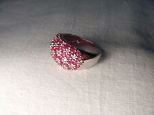 Gorgeous Estate 14K White Gold Ruby Diamond Mosaic Floral Ring Band