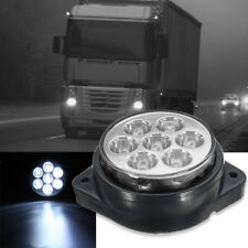White Round 7 LED Truck Trailer Side Marker Light Clearance Replacement Lamp