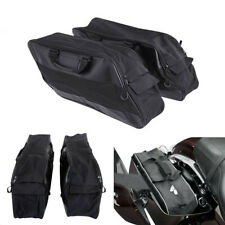 2x Leather+Cloth Motorcycle Saddle Bags Tail Side Bag Luggage Storage Waterproof