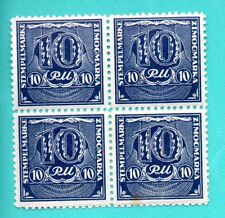 LATVIA GERMANY BLOCK OF 4 REVENUE STAMPS 10 RM MNH 322