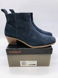 Vionic Women's Joy Vera Water-Resistant Suede Ankle Boots - Navy , choose size