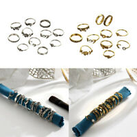 11Pcs Women Punk Mid Midi Above Knuckle Rings Band Tip Finger Stacking Ring