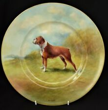 More details for royal worcester artist r.budd hand painted boxer dog plate
