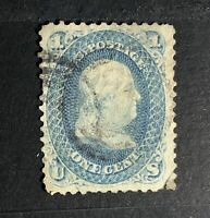U.S. Scott  Franklin 1 cent blue stamp, No Grill