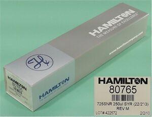 """NEW HAMILTON 80765 GC Autosampler Syringe 725SNR 250uL (22/2""""/3)"""