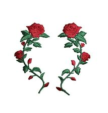 (Set 2) Small 3-1/2 Red Rose Stem/Flower Iron on Applique/Embroidered Patch