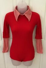 New listing Vintage Women's Red & White Houndstooth Bodysuit 10R