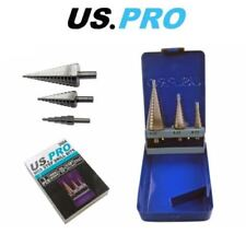 US PRO 3 Piece HSS Step Drill Bit Set 4mm to 32mm Cone Cutters Hole Saw 2604