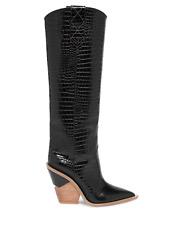 *BNIB* FENDI - Stamped Croc Leather Knee-High Cowboy Boots - 37