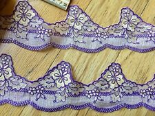 "Purple Floral Embroidered Ribbon Border Lace Trim for Sewing/ Crafts/ 3"" Wide"