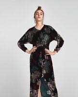 BNWT ZARA BLACK FLORAL VELVET DRAPED DRESS SIZE S