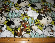 1 yard of FUNNY FARM SHEEP and DOGS on 100% Cotton Fabric
