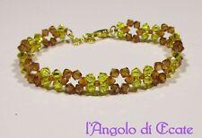 Idea regalo BRACCIALE BRACCIALETTO donna artigianale cristalli Swarovski giallo