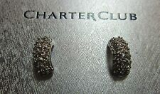 New with Box! Charter Club Silver Colored .5'' Bejeweled Earrings