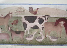 "FARM ANIMALS Cow Horse Sheep Pigs Geese  Wall border 9"" Blue"