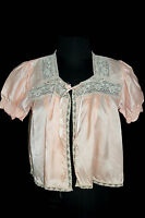 VINTAGE PINK RAYON SATIN 1940'S BED JACKET & LACE TRIM SIZE MEDIUM