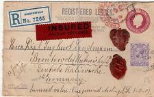 Huddersfield to Germany GB 1912 Registered Envelope Insured Postal History