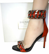 $1390 BALMAIN Red Rouge Double Chain Gladiator Sandals Pumps Shoes 37