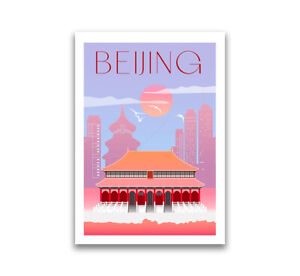 Art Deco Travel Posters Lovely Retro Modern Holiday Tourism Beijing, China
