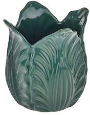 Small Green Ceramic Flower Vase Leaf Design. Unique Flared Vase Wide Vase