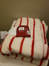 "Wondershop Throw Blanket Super Soft Plush White Red Stripe 50"" X 60"""