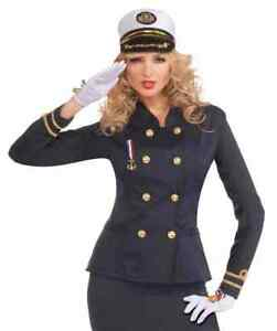 Officer Jacket Lady Navy Military Fancy Dress Halloween Adult Costume 2 COLORS