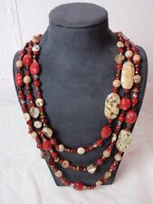 """Triple Strand Necklace Stone Glass Beads Abalone Shell Hippie Boho Red Brown 26"""""""