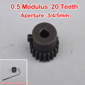 20 teeth 20T Metal Gear 0.5 Modulus 3/4/5mm ID Spindle Gear DIY DC Motor Parts