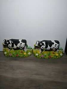 Two Cow Bookends Or Door Stops Cast Iron
