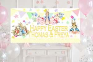 Large Personalised Easter Bunny Banner Egg Hunt Decorations Bunting First 1st