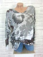 ITALY Feinstrick Shirt Pullover Pulli Blumen Lurex 36 38 40 Weiß E723 NEU