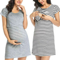 Womens Maternity Pregnancy Nursing Summer Casual Stripe Short Sleeve Short Dress