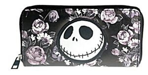 Nightmare Before Christmas Jack With Flowers Zip Around Hand Purse Clutch Wallet