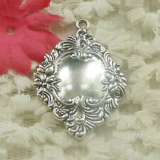 Free Ship 16 pieces Antique silver oval flower charms pendant 42x30mm H-4818
