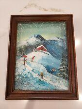 VTG Original Oil on Canvas Relief 3D Skiing Ski Barn Painting Decor Cabin Lodge