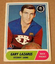 SCANLENS 1969 VFL AFL TRADING CARD #7 FITZROY GARY LAZARUS