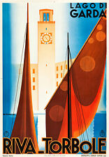 "Lago di garda Italy Vintage Travel Poster art Print for Glass Frame 36"" painting"
