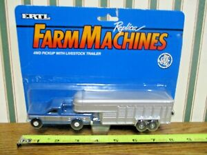 Blue & Silver Ford F-250 Pickup With Livestock Trailer By Ertl 1/64th Scale >