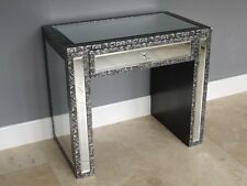 Black silver embossed Mirrored dressing table side table hall table console