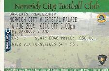 Ticket - Norwich City v Crystal Palace 14.08.04