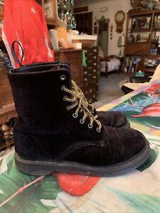 """Dr. Martens """"Page"""" Women's Black Leather Velvet Boots Shoes Size 8"""