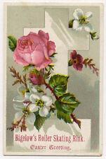 1800's EASTER GREETINGS BIGELOW'S ROLLER SKATING RINK TRADE CARD *SALE* TC1748