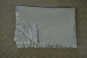 Little Me Solid White Baby Blanket Silky Satin Edge Trim Underside Lovey