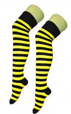 Ladies Over The Knee Stripe Socks Thigh High in Various Colours for Fancy Dress Black and Yellow