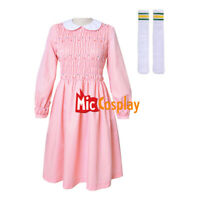 Stranger Things Eleven Dress Women Girl Pink Long Sleeve Dress Costume