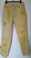"""Vintage yellow tie dye smiley face patch Jeans Mom High Waisted UK 14 32"""" 90s"""